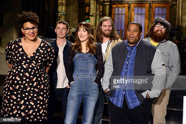 LIVE 'Dakota Johnson' Episode 1676 Pictured Back Row Brittany Howard Heath Fogg Steve Johnson and Zac Cockrell of musical guest Alabama Shakes Front...