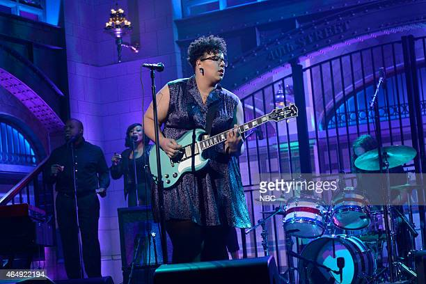 LIVE 'Dakota Johnson' Episode 1676 Pictured Brittany Howard Heath Fogg Steve Johnson and Zac Cockrell of musical guest Alabama Shakes perform on...