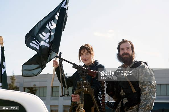 LIVE 'Dakota Johnson' Episode 1676 Pictured Dakota Johnson and Kyle Mooney during the 'Father Daughter' skit on February 28 2015