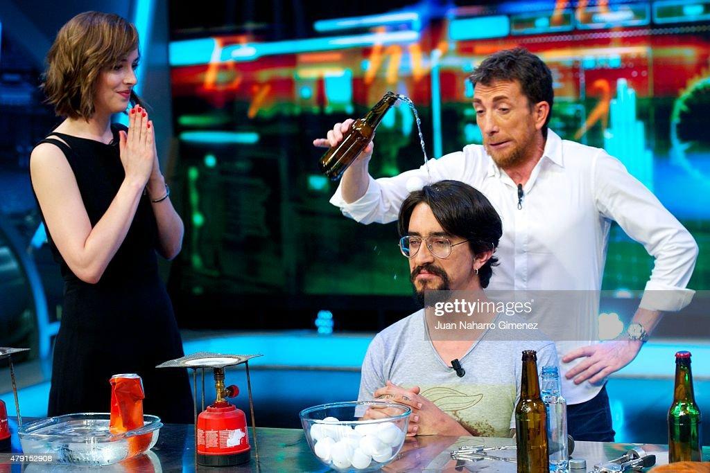 Dakota Johnson Marron and Pablo Motos attend 'El Hormiguero' Tv show at Vertice Studio on July 1 2015 in Madrid Spain