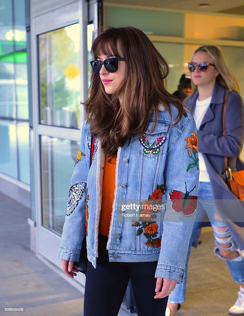 Dakota Johnson seen at JFK Airport on April 30, 2016 in New York City.