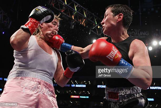 Dakota Stone connects to the head of Christy Martin during their welterweight bout at Staples Center on June 4 2011 in Los Angeles California