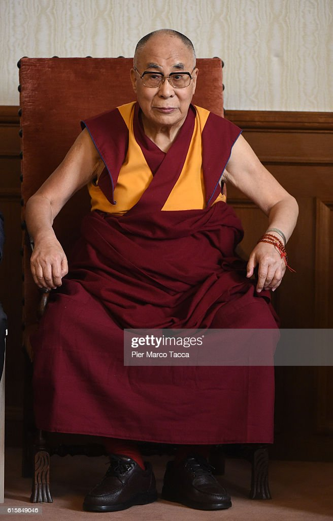 Dalai Lama during a meeting with the Milan Archibishop Angelo Scola on October 20, 2016 in Milan, Italy. The Dalai Lama spiritual leader of Tibetan Buddhism, begins today the first of a three-day visit and spiritual meetings in Milan.
