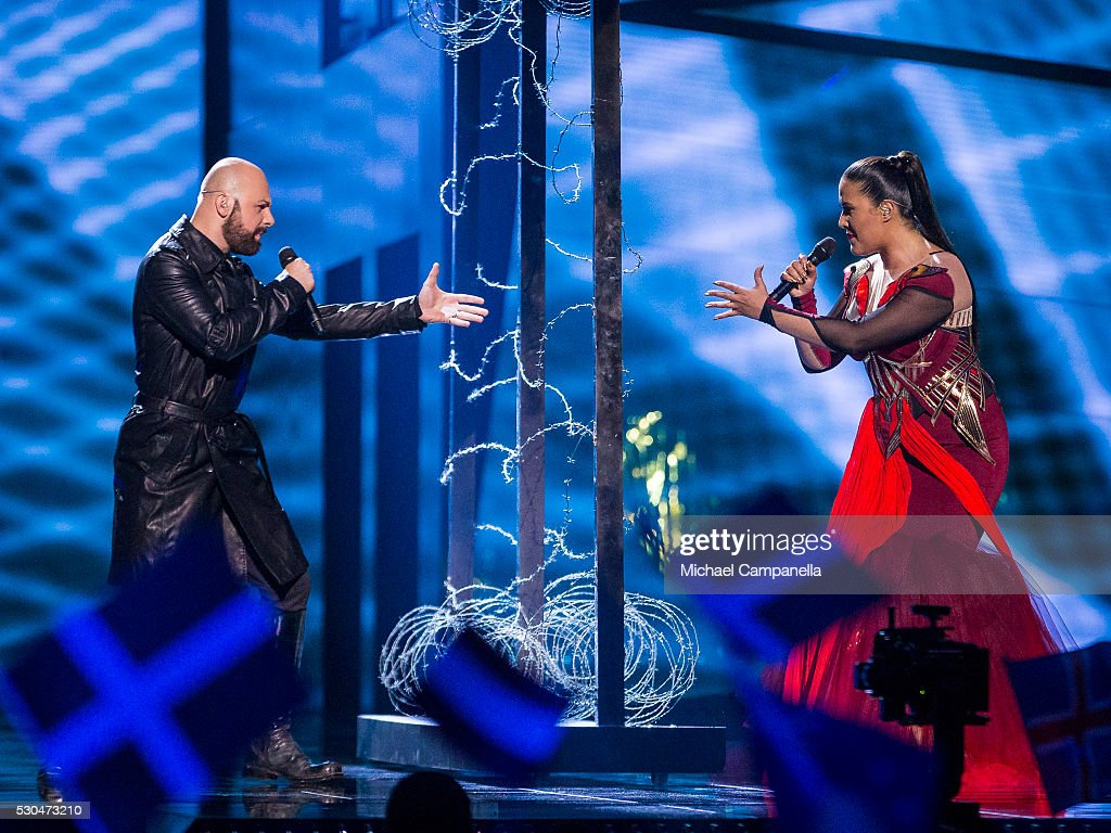 Dalal Deen Ana Rucner and Jala of Bosnia Herzegovina perform the song 'Ljubav Je'during the semifinals of the 2016 Eurovision Song Contest at...