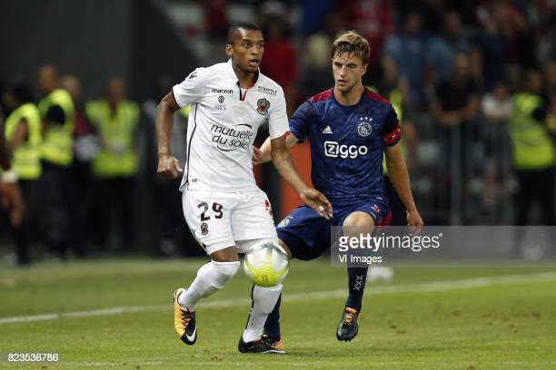 Dalbert Estevao of OCG Nice Joel Veltman of Ajax during the UEFA Champions League third round qualifying first leg match between OGC Nice and Ajax...