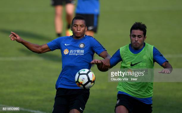 Dalbert Henrique Chagas Estevão and Citadin Martins Eder of FC Internazionale compete for the ball during a training session at Suning Training...
