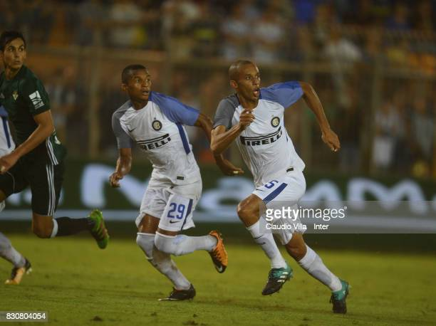 Dalbert Henrique Chagas Estevão and Joao Miranda de Souza Filho of FC Internazionale in action during the PreSeason Friendly match between FC...