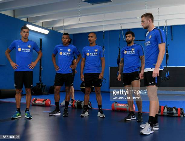 Dalbert Henrique Chagas Estevão Joao Cancelo Joao Mario Gabriel Barbosa Almeida and Milan Skriniar of FC Internazionale look on during a training...