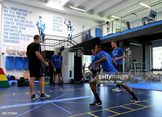 Dalbert Henrique Chagas Estevão of FC Internazionale in action during a training session at Suning Training Center at Appiano Gentile on August 15...