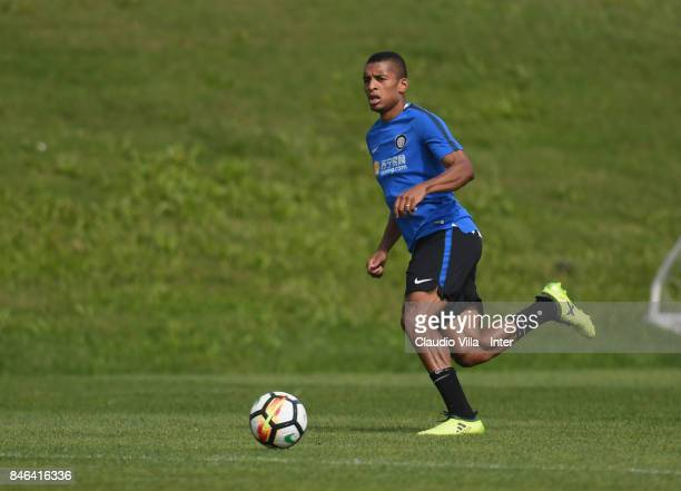 Dalbert Henrique Chagas Estevão of FC Internazionale in action during a training session at Suning Training Center at Appiano Gentile on September 13...
