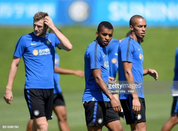 Dalbert Henrique Chagas Estevão of FC Internazionale looks on during a training session at Suning Training Center at Appiano Gentile on August 15...