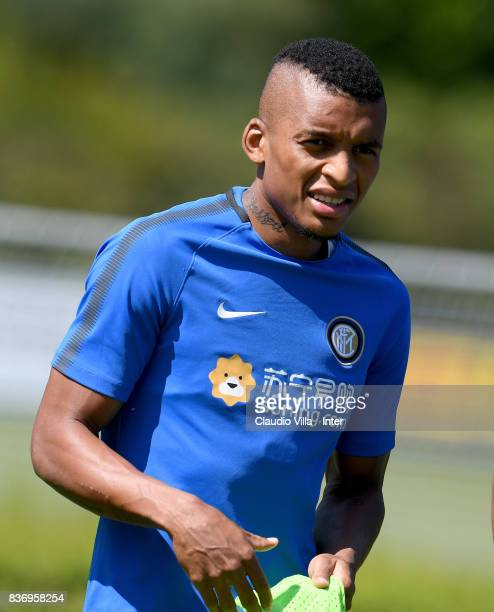Dalbert Henrique Chagas Estevão of FC Internazionale looks on during a training session at Suning Training Center at Appiano Gentile on August 22...
