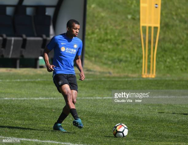 Dalbert Henrique Chagas Estevão of FC Internazionale looks on during a training session at Suning Training Center at Appiano Gentile on September 21...