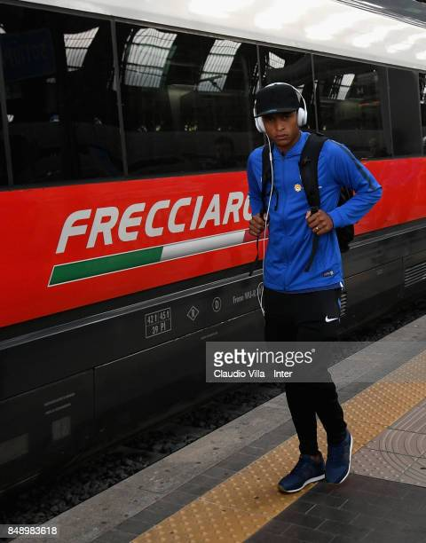 Dalbert Henrique Chagas Estevão of FC Internazionale travel to Bologna ahead of the Serie A match on September 18 2017 in Milan Italy