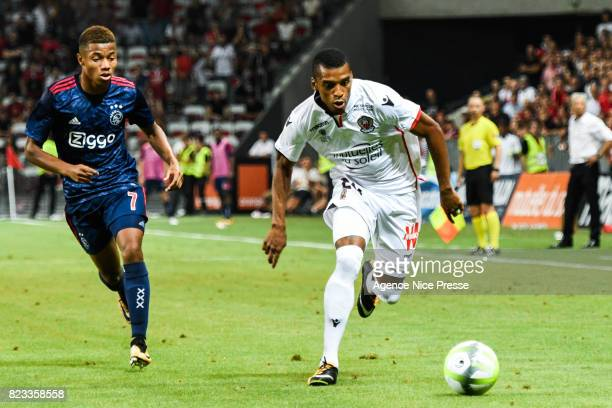 Dalbert Henrique of Nice and David Neres of Ajax during the UEFA Champions League Qualifying match between Nice and Ajax Amsterdam at Allianz Riviera...