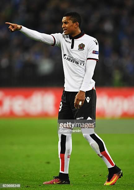 Dalbert Henrique of Nice gestures during the UEFA Europa League match between FC Schalke 04 and OGC Nice at VeltinsArena on November 24 2016 in...