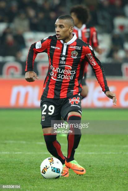 Dalbert Henrique of Nice in action during the French Ligue 1 match between OGC Nice and Monptellier Herault SC at Allianz Riviera stadium on February...