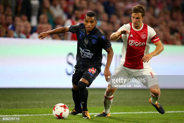 Dalbert of OGC Nice and Joel Veltman of Ajax during the UEFA Champions League Qualifying Third Round match between Ajax and OSC Nice at Amsterdam...
