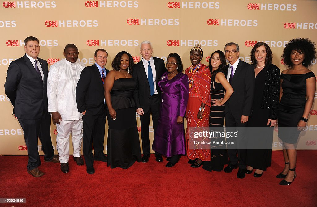 Dale Beatty, Georges Bwelle, Chad Pregracke, Tawanda Jones, Andreson Cooper, Estella Pyfrom, Kakenya Ntaiya, Danielle Gletow, Richard Nares, Laura Stachel and Robin Emmons attend 2013 CNN Heroes: An All Star Tribute at the American Museum of Natural History on November 19, 2013 in New York City. 24079_014_0519.JPG