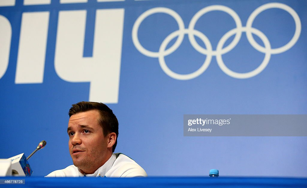 <a gi-track='captionPersonalityLinkClicked' href=/galleries/search?phrase=Dale+Begg-Smith&family=editorial&specificpeople=725004 ng-click='$event.stopPropagation()'>Dale Begg-Smith</a> of Australia addresses the media during an Australian Olympic team moguls press conference at the Gorki Media Centre in Rosa Khutor Mountain Village Cluster on February 4, 2014 in Sochi, Russia.