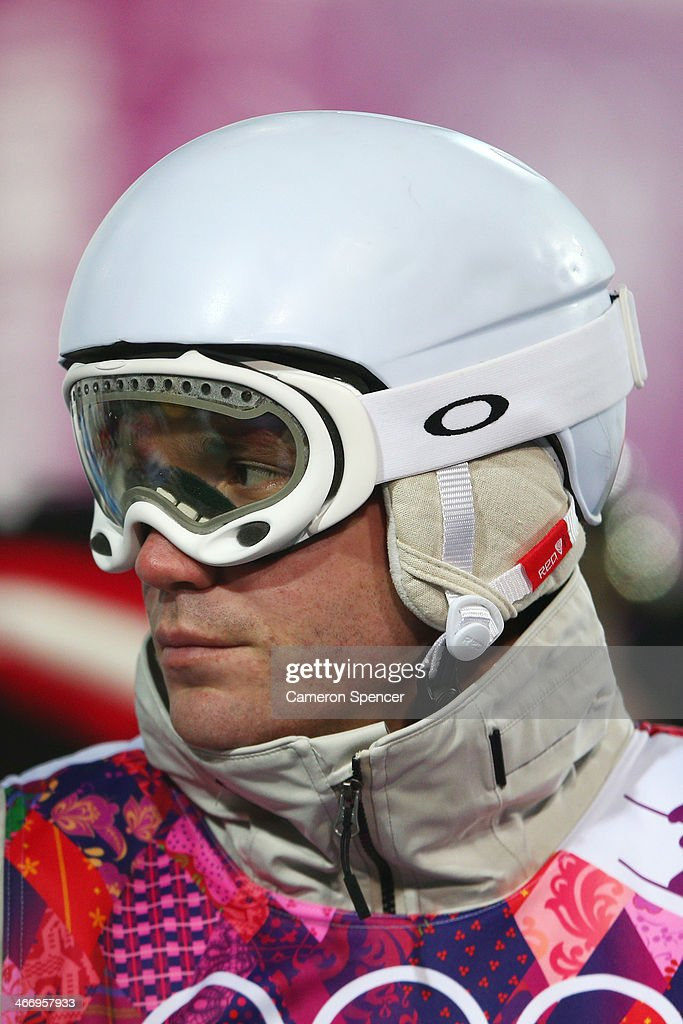 Dale Begg-Smith of Australia looks on during moguls practice at the Extreme Park at Rosa Khutor Mountain ahead of the Sochi 2014 Winter Olympics on February 5, 2014 in Sochi, Russia
