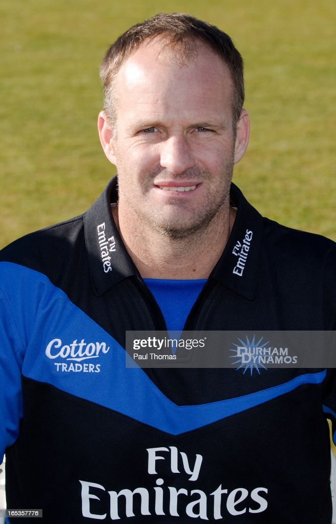 Dale Benkenstein of Durham CCC wears the FriendsLife T20 kit during a pre-season photocall at The Riverside on April 3, 2013 in Chester-le-Street, England.