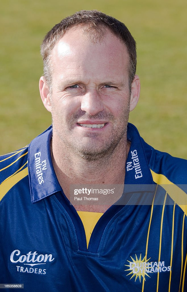 Dale Benkenstein of Durham CCC wears the Yorkshire Bank 40 kit during a pre-season photocall at The Riverside on April 3, 2013 in Chester-le-Street, England.