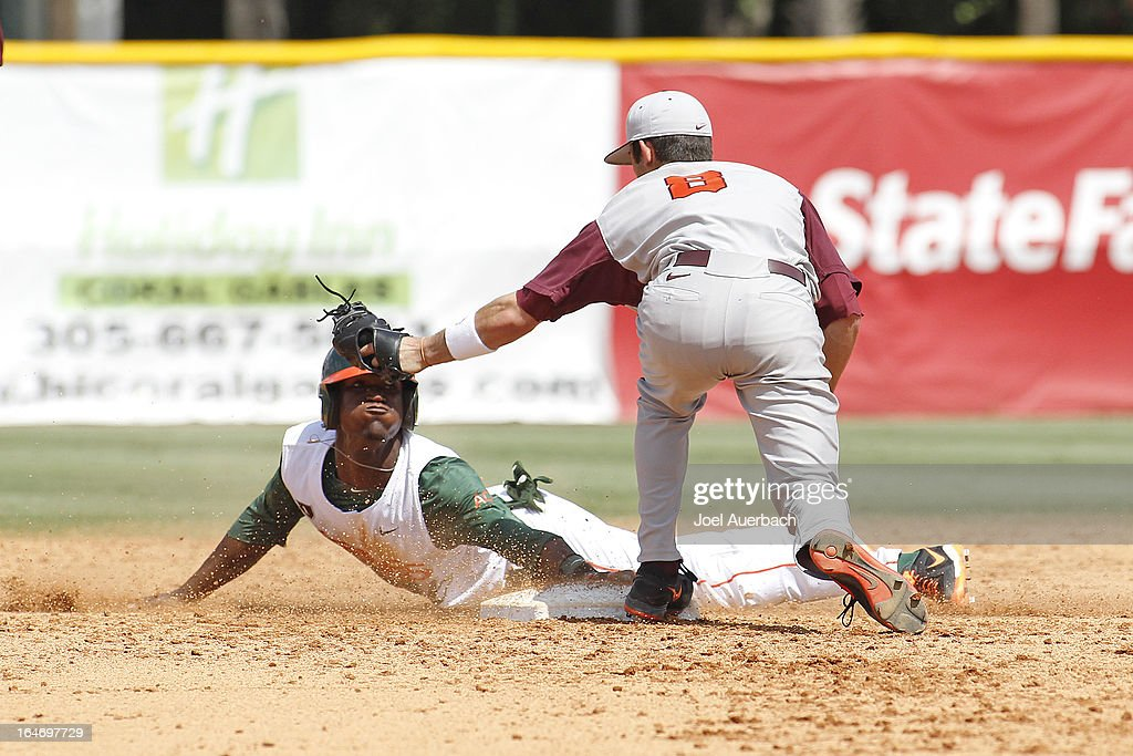 Dale Carey #36 of the Miami Hurricanes steals second base ahead of the tag by Alex Perez #8 of the Virginia Tech Hokies on March 24, 2013 at Alex Rodriguez Park at Mark Light Field in Coral Gables, Florida. Virginia Tech defeated Miami 8-5 in 10 innings.