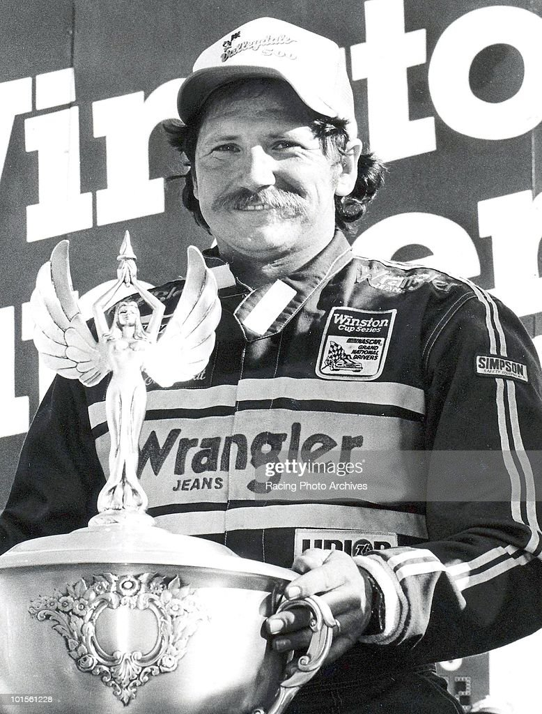 Dale Earnhardt celebrates in Victory Lnae after winning the Valleydale 500. Earnhardt would take home $31,525 for the race.