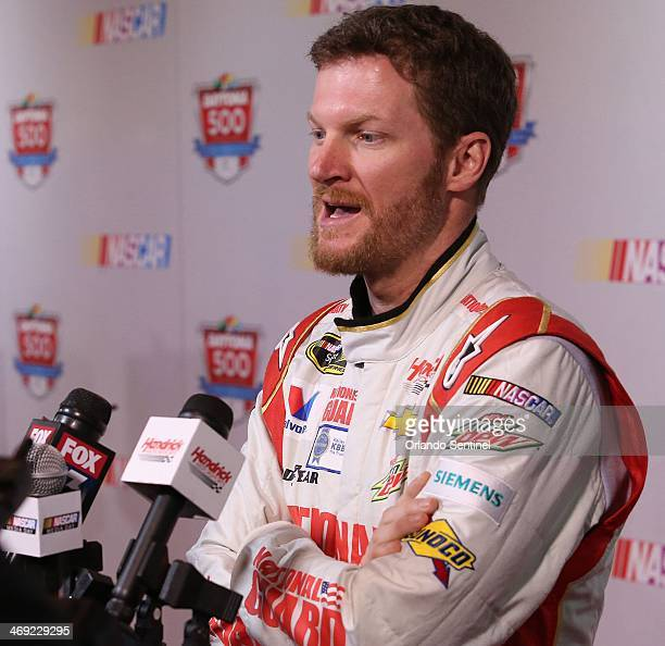 Dale Earnhardt Jr answers questions during NASCAR Media Day on Thursday Feb 13 at Daytona International Speedway in Daytona Fla