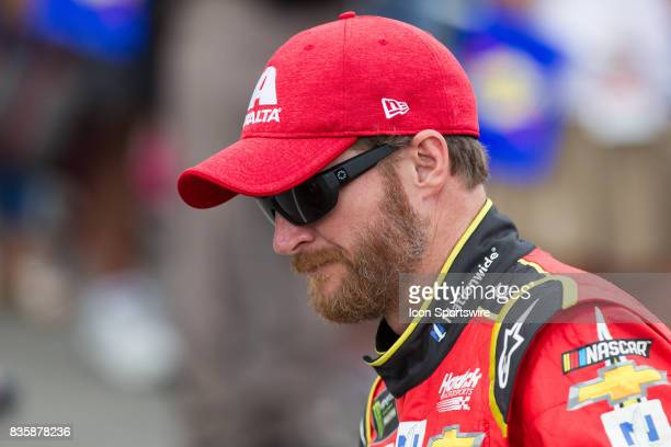 Dale Earnhardt Jr Axalta Chevrolet greets fans during the prerace ceremonies of the Monster Energy NASCAR Cup Series Pure Michigan 400 race on August...