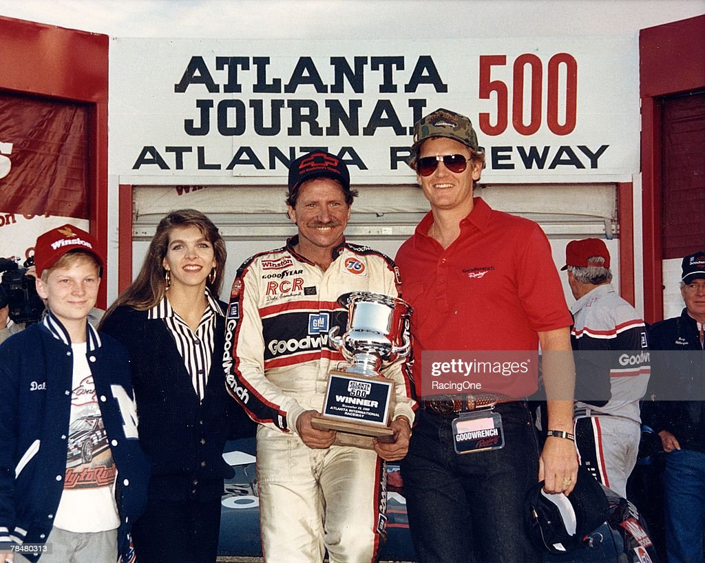 Dale Earnhardt, Jr., came to major league NASCAR racing early. Here pre-teen Junior (far left) and stepmom Teresa enjoy Dale, Sr.'s, win in the 1986 Atlanta Journal 500.