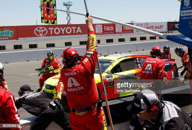 Dale Earnhardt Jr comes in for service at the NASCAR Monster Energy Cup Series Toyota/Save Mart 350 on June 25 2017 at Sonoma Raceway in Sonoma CA