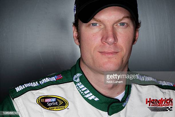 Dale Earnhardt Jr driver of the AMP Energy Chevrolet poses during the 2011 NASCAR Sprint Cup Series Media Day at Daytona International Speedway on...