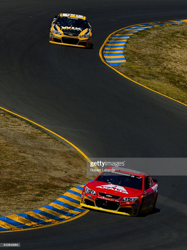 Dale Earnhardt Jr, driver of the #88 Axalta Chevrolet, and <a gi-track='captionPersonalityLinkClicked' href=/galleries/search?phrase=Ryan+Newman+-+Race+Car+Driver&family=editorial&specificpeople=12773547 ng-click='$event.stopPropagation()'>Ryan Newman</a>, driver of the #31 WIX Filters Chevrolet, drive during practice for the NASCAR Sprint Cup Series Toyota/Save Mart 350 at Sonoma Raceway on June 24, 2016 in Sonoma, California.