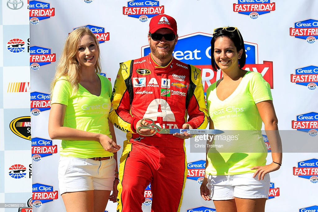 Dale Earnhardt Jr, driver of the #88 Axalta Chevrolet, celebrates being the fastest in practice for the NASCAR Sprint Cup Series Toyota/Save Mart 350 at Sonoma Raceway on June 24, 2016 in Sonoma, California.