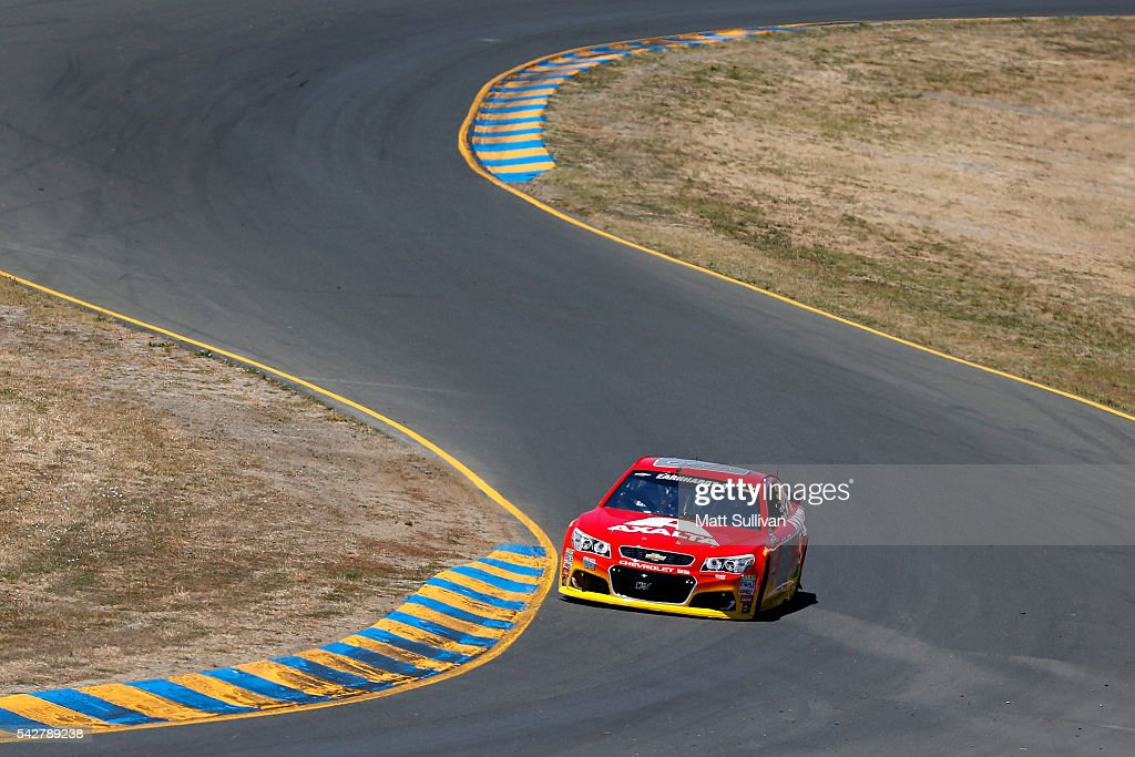Dale Earnhardt Jr, driver of the #88 Axalta Chevrolet, drives during practice for the NASCAR Sprint Cup Series Toyota/Save Mart 350 at Sonoma Raceway on June 24, 2016 in Sonoma, California.