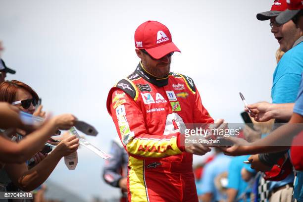Dale Earnhardt Jr driver of the Axalta Chevrolet is introduced prior to the Monster Energy NASCAR Cup Series I Love NY 355 at The Glen at Watkins...
