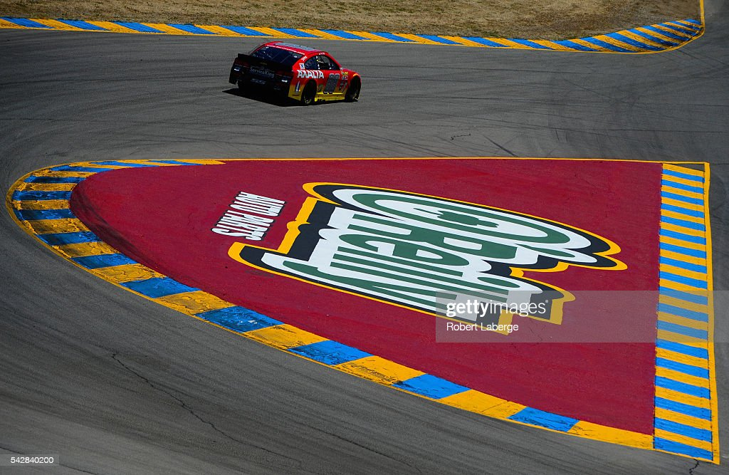 Dale Earnhardt Jr, driver of the #88 Axalta Chevrolet, practices for the NASCAR Sprint Cup Series Toyota/Save Mart 350 at Sonoma Raceway on June 24, 2016 in Sonoma, California.