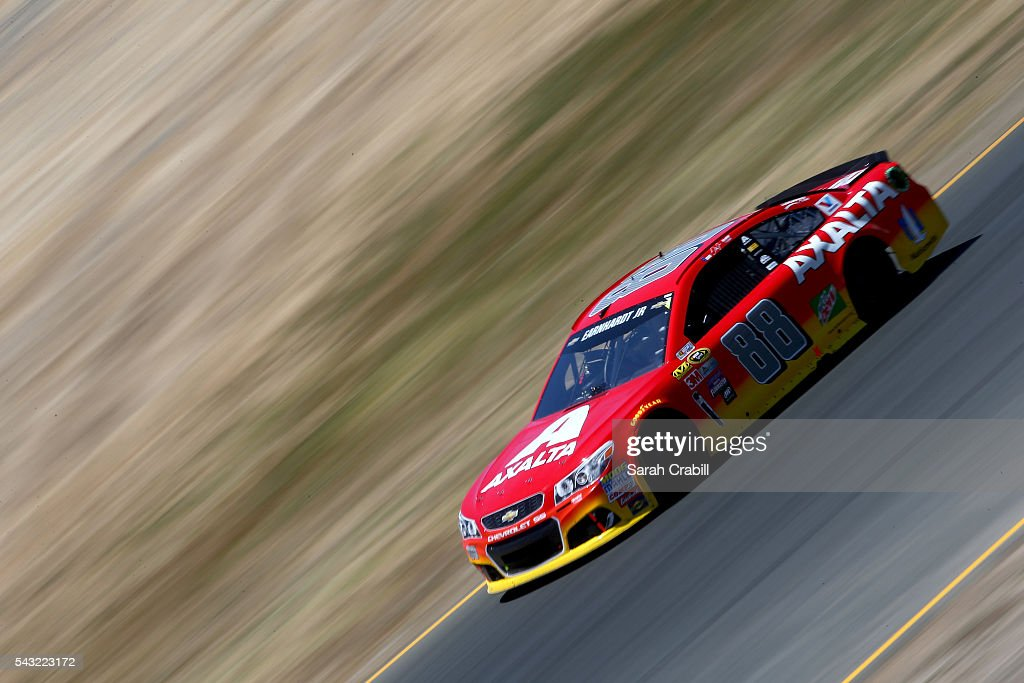 Dale Earnhardt Jr, driver of the #88 Axalta Chevrolet, races during the NASCAR Sprint Cup Series Toyota/Save Mart 350 at Sonoma Raceway on June 26, 2016 in Sonoma, California.