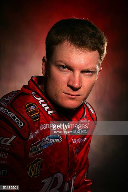 Dale Earnhardt Jr driver of the Budweiser Chevrolet poses during Media Day for the NASCAR Nextel Cup Daytona 500 on February 10 2005 at the Daytona...