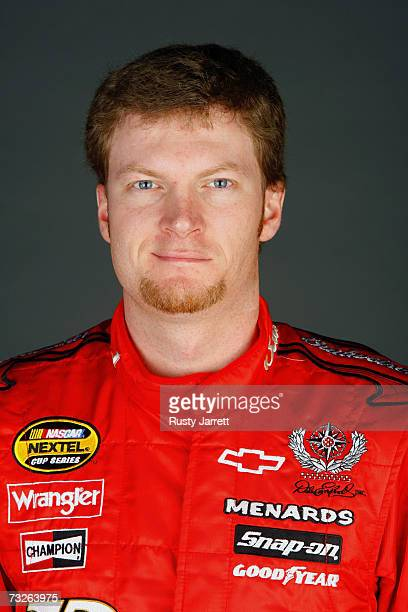 Dale Earnhardt Jr driver of the Budweiser Chevrolet poses during the NASCAR media day at Daytona International Speedway on February 8 2007 in Daytona...