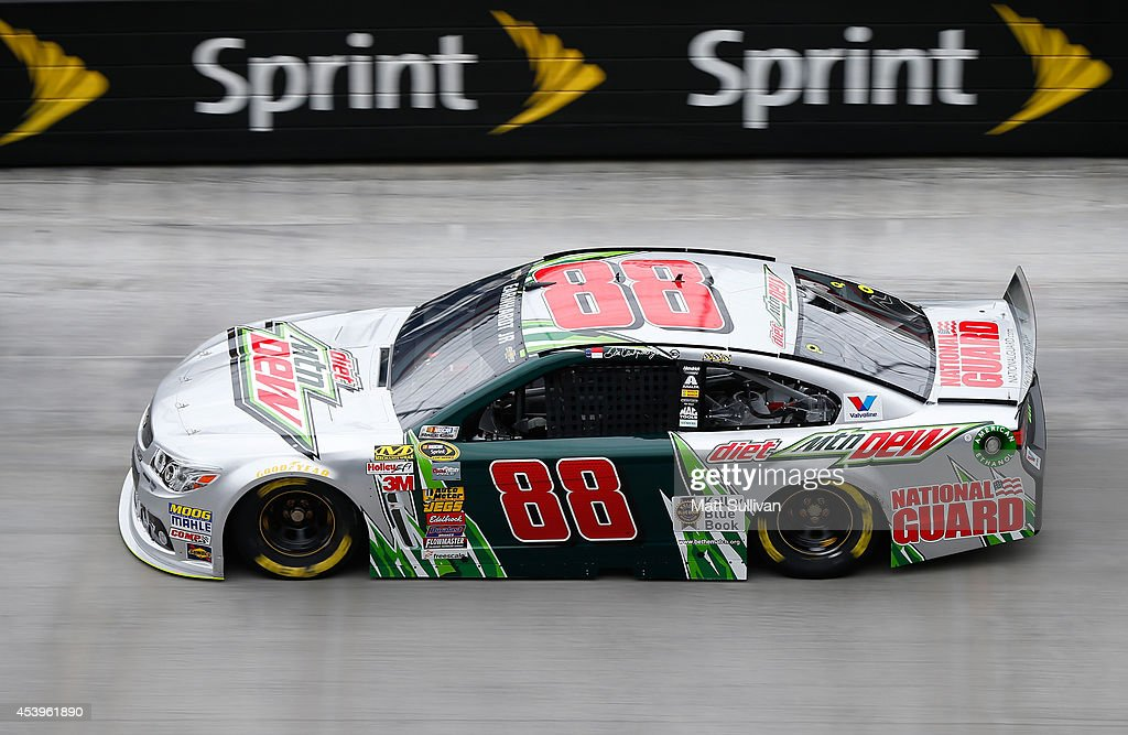 Dale Earnhardt Jr., driver of the #88 Diet Mountain Dew Chevrolet, practices for the NASCAR Sprint Cup Series Irwin Tools Night Race at Bristol Motor Speedway on August 22, 2014 in Bristol, Tennessee.