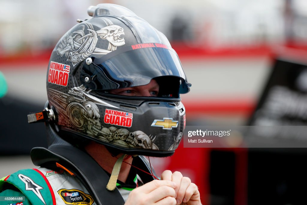 Dale Earnhardt Jr., driver of the #88 Diet Mountain Dew Chevrolet, prepares during practice for the NASCAR Sprint Cup Series Irwin Tools Night Race at Bristol Motor Speedway on August 22, 2014 in Bristol, Tennessee.