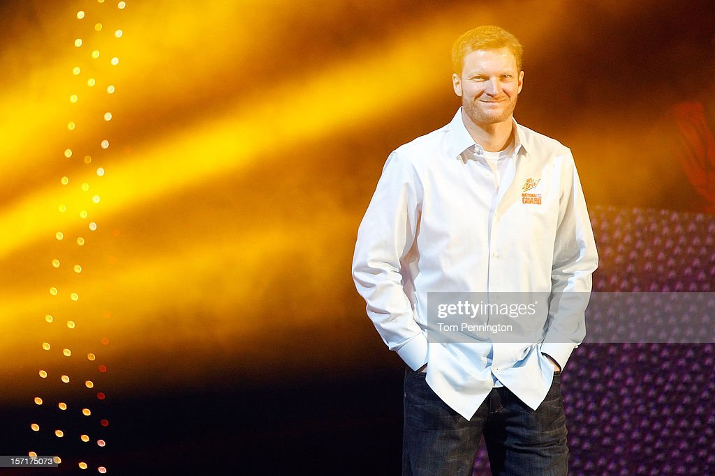 Dale Earnhardt Jr., driver of the #88 Diet Mt. Dew Chevrolet, stands on stage during NASCAR After The Lap at PH Live at Planet Hollywood Resort & Casino on November 29, 2012 in Las Vegas, Nevada.