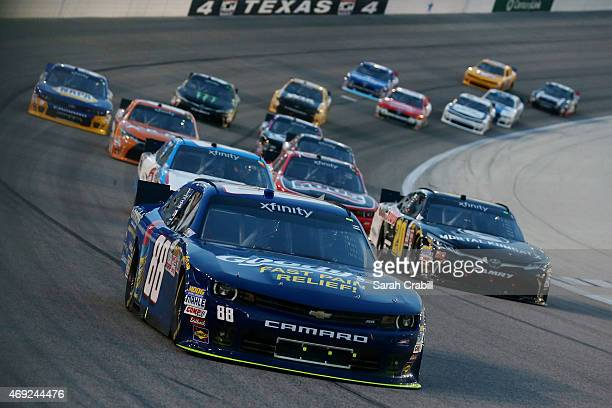 Dale Earnhardt Jr driver of the Goody's Chevrolet leads a pack of cars during the NASCAR XFINITY Series O'Reilly Auto Parts 300 at Texas Motor...