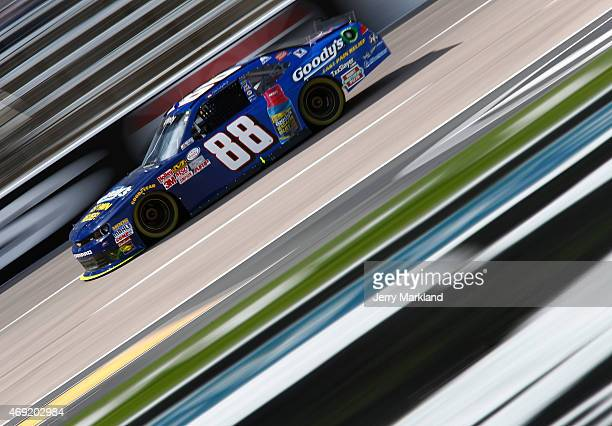 Dale Earnhardt Jr driver of the Goody's Chevrolet qualifies for the NASCAR XFINITY Series O'Reilly Auto Parts 300 at Texas Motor Speedway on April 10...