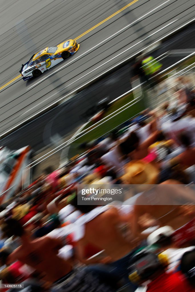 Dale Earnhardt Jr., driver of the #5 Hellmann's Chevrolet, races during the NASCAR Nationwide Series Aaron's 312 at Talladega Superspeedway on May 5, 2012 in Talladega, Alabama.