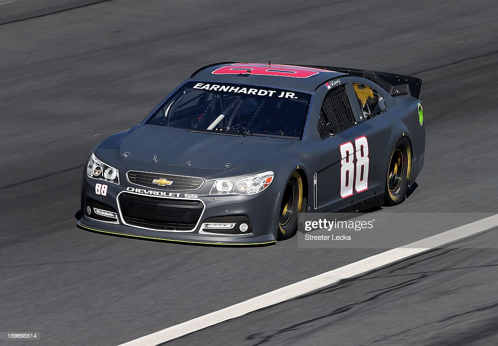 Dale Earnhardt Jr., driver of the #88 Hendrick Chevrolet, in action during NASCAR Testing at Charlotte Motor Speedway on January 18, 2013 in Charlotte, North Carolina.
