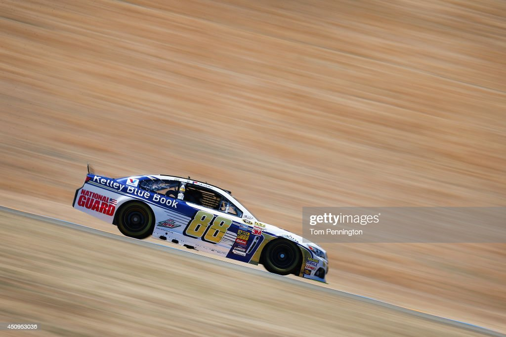 <a gi-track='captionPersonalityLinkClicked' href=/galleries/search?phrase=Dale+Earnhardt+Jr.&family=editorial&specificpeople=171293 ng-click='$event.stopPropagation()'>Dale Earnhardt Jr.</a>, driver of the #88 Kelley Blue Book Chevrolet, drives during practice for the NASCAR Sprint Cup Series Toyota/Save Mart 350 at Sonoma Raceway on June 20, 2014 in Sonoma, California.